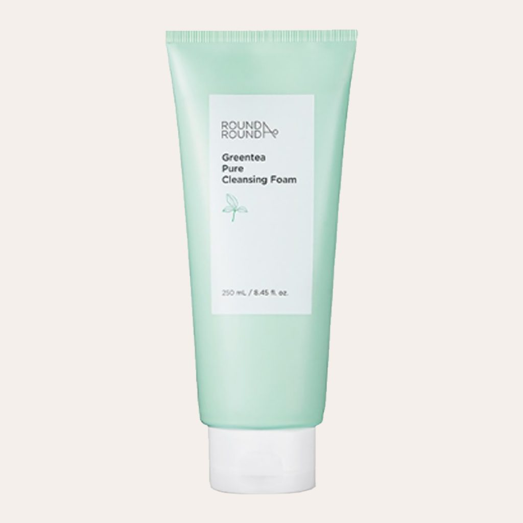 best K-Beauty Products RoundA'Round – Green Tea Pure Cleansing Foam